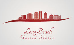 Horizon de Long Beach V2 en rouge Photographie stock libre de droits