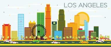 Horizon de Los Angeles avec les bâtiments de couleur et le ciel bleu illustration libre de droits