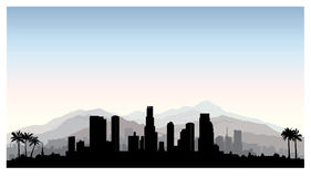 Horizon de Los Angeles, Etats-Unis Silhouette de ville avec le bâtiment de gratte-ciel Photo stock
