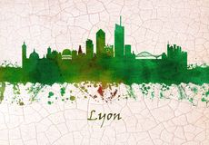 Horizon de Lyon France illustration stock
