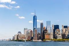 Horizon de Manhattan de panorama de New York City Images libres de droits
