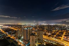 Horizon de Manille de métro au coucher du soleil Photographie stock