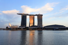 Horizon de Marina Bay au coucher du soleil, Singapour Photos libres de droits