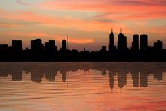 Horizon de Melbourne au coucher du soleil illustration de vecteur