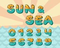 Horizon de mer d'alphabet, conception de vintage Sun rayonne, et la mer ondule la couleur bleu vert, rétro style Typographie de v photographie stock libre de droits