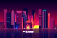 Horizon de Mexico, paysage urbain de allumage au néon de nuit illustration de vecteur