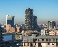 Horizon de Milan avec les gratte-ciel modernes au district des affaires de Porto Nuovo, Italie photo stock