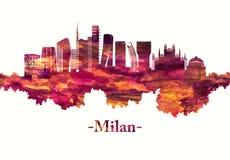 Horizon de Milan Italy en rouge illustration libre de droits
