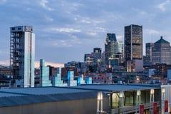 Horizon de Montréal de vieux port Image stock