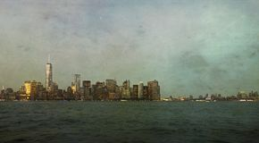 Horizon de New York City avec la texture artistique Image stock