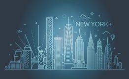 Horizon de New York City, illustration de vecteur, conception plate Photos libres de droits