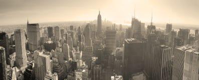 Horizon de New York City noir et blanc Photographie stock