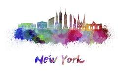 Horizon de New York dans l'aquarelle illustration libre de droits