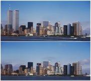 Horizon de New York Manhattan - avant et après 9/11 Images libres de droits