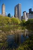 Horizon de New York vu de Central Park Photographie stock