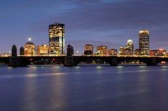 horizon de nuit de Boston Photographie stock libre de droits