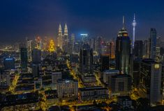 Horizon de nuit de Kuala Lumpur photo stock