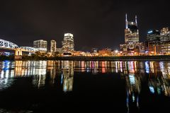 Horizon de nuit de Nashville Images stock