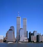 Horizon de NYC avec les Tours jumelles Images libres de droits