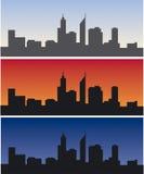 Horizon de Perth à la journée, au lever de soleil et au crépuscule Image stock