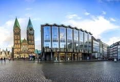 Horizon de place principale du marché de Brême, Allemagne Photos libres de droits