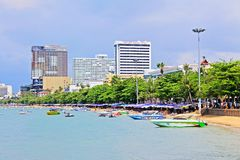 Horizon de plage et de ville de Pattaya, Pattaya, Thaïlande Photo libre de droits