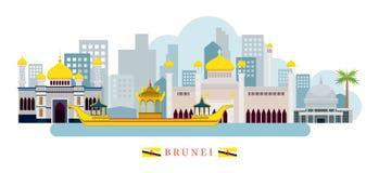 Horizon de points de repère du Brunei illustration stock