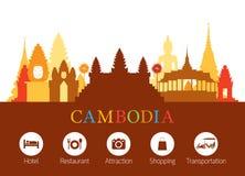 Horizon de points de repère du Cambodge avec des icônes de logement Photos libres de droits