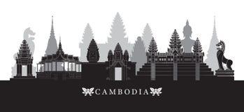 Horizon de points de repère du Cambodge en noir et blanc Photo stock