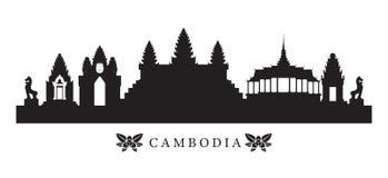 Horizon de points de repère du Cambodge en silhouette Images stock