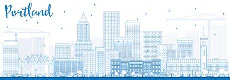 Horizon de Portland d'ensemble avec les bâtiments bleus Photographie stock