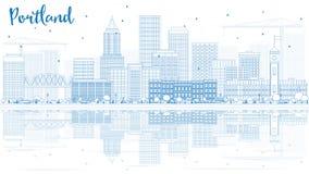 Horizon de Portland d'ensemble avec les bâtiments bleus et les réflexions Images libres de droits
