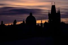 Horizon de Prague à l'aube Photographie stock