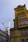Horizon de Prague avec l'émetteur de tour de télévision de Zizkov, République Tchèque Photo libre de droits