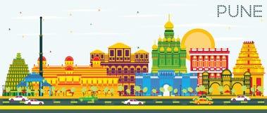 Horizon de Pune avec les bâtiments de couleur et le ciel bleu illustration de vecteur