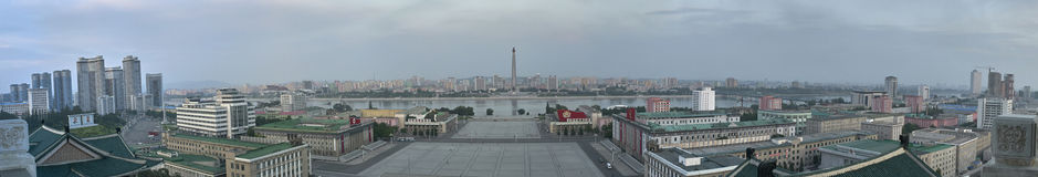 Horizon de Pyong Yang, capitale de la Corée du Nord photos stock