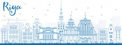 Horizon de Riga d'ensemble avec les points de repère bleus illustration libre de droits