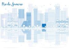 Horizon de Rio de Janeiro d'ensemble avec les bâtiments bleus illustration stock