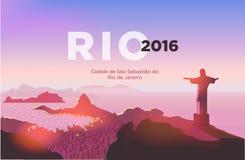 Horizon de Rio de Janeiro La statue se lève au-dessus de la ville brésilienne Ciel de coucher du soleil au-dessus de plage de Cop illustration de vecteur