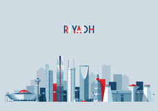 Horizon de Riyadh, illustration de vecteur, conception plate illustration stock
