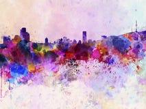 Horizon de Séoul à l'arrière-plan d'aquarelle photo libre de droits