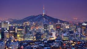 Horizon de Séoul Photographie stock libre de droits