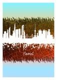 Horizon de Séoul bleu et blanc illustration stock