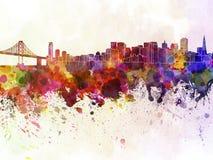 Horizon de San Francisco à l'arrière-plan d'aquarelle illustration libre de droits