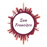 Horizon de San Francisco avec les bâtiments colorés illustration de vecteur
