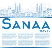 Horizon de Sanaa d'ensemble (Yémen) avec les bâtiments bleus illustration stock