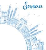 Horizon de Sanaa d'ensemble (Yémen) avec les bâtiments bleus illustration libre de droits