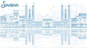 Horizon de Sanaa d'ensemble (Yémen) avec les bâtiments bleus et la réflexion illustration stock