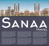 Horizon de Sanaa (Yémen) avec les bâtiments de Brown et l'espace de copie illustration libre de droits