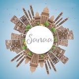 Horizon de Sanaa (Yémen) avec les bâtiments de Brown et l'espace de copie illustration de vecteur